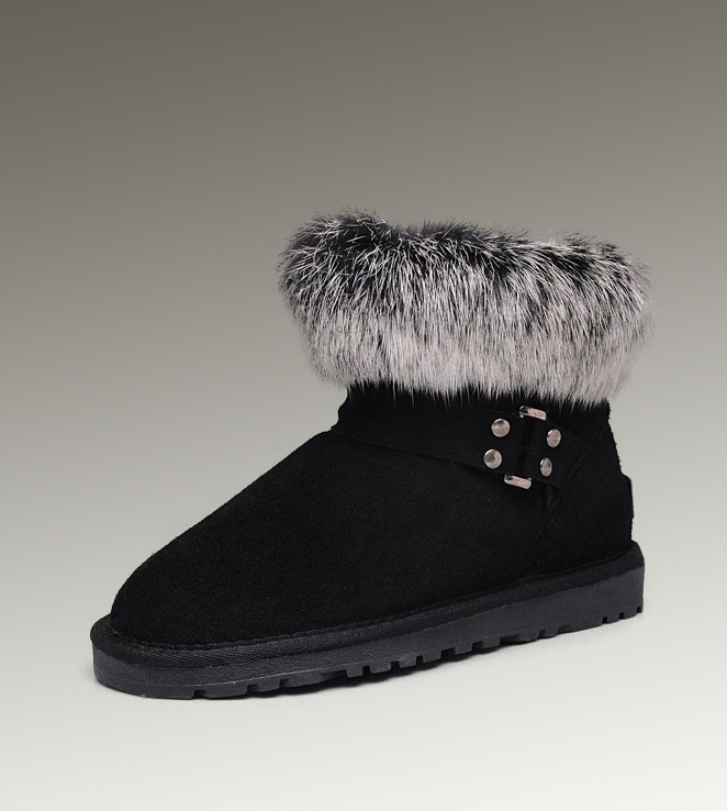 UGG Fox Fur Mini 5859 Black Boots